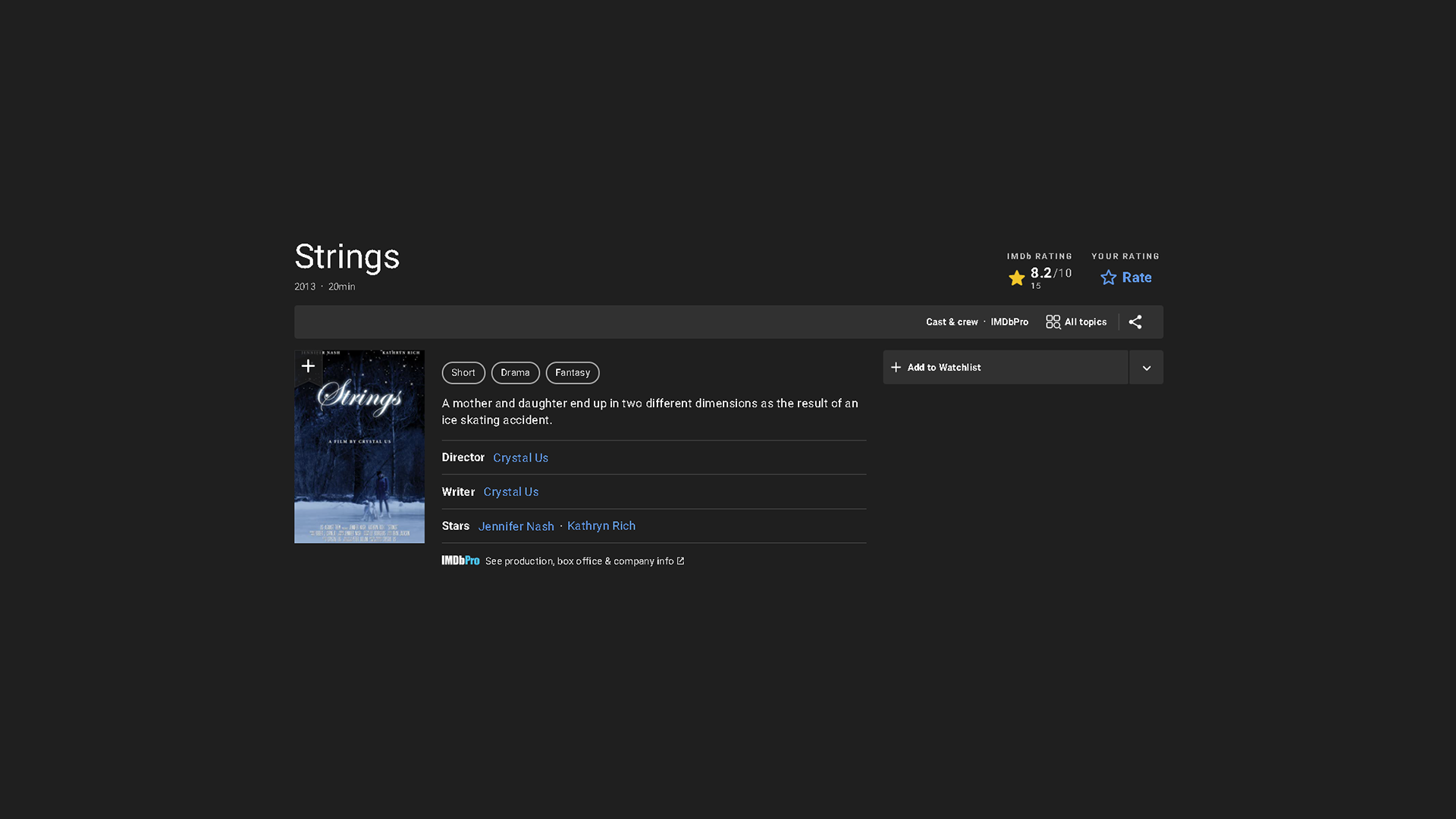 Strings on IMDB with black background